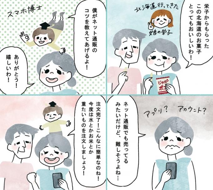 日本薬師堂会報誌「元気のわ」盛夏号掲載4コマ漫画「快適インターネット生活」第4弾の画像1枚目