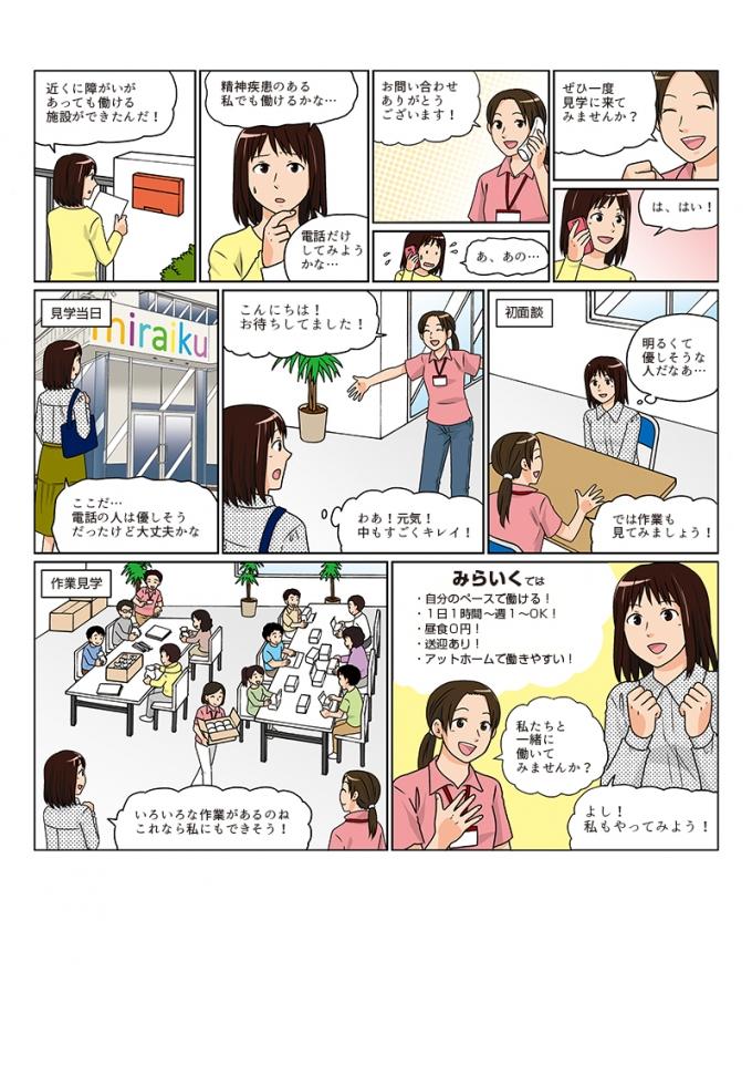 障がい者向け就労支援施設miraikuチラシ掲載漫画第1弾の画像1枚目