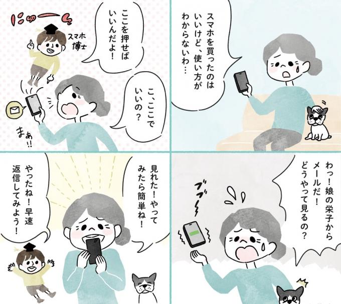 日本薬師堂会報誌「元気のわ」初春号掲載4コマ漫画「快適インターネット生活」第1弾の画像1枚目
