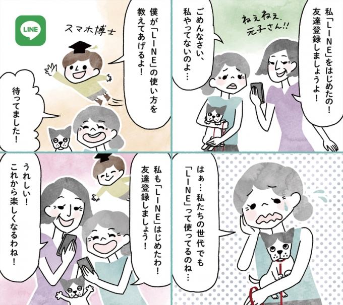 日本薬師堂会報誌「元気のわ」秋号掲載4コマ漫画「快適インターネット生活」第5弾の画像1枚目
