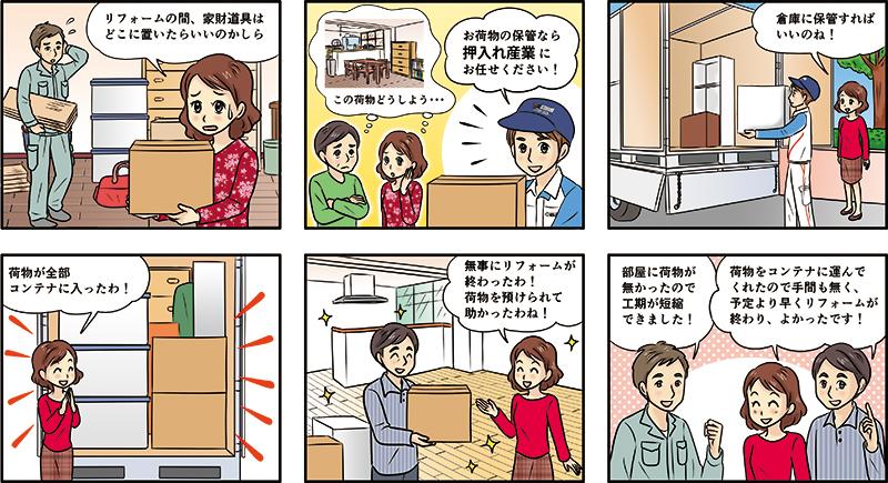 レンタルトランクルームを紹介するチラシ掲載用漫画[画像1]